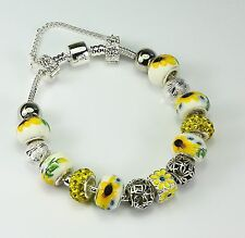 Sunflower porcelain European charm bead bracelet, yellow, silver, rhinestones
