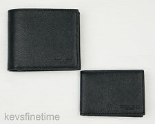 New Coach Men Compact ID Wallet Billfold Black Crossgrain Leather F59112 $175