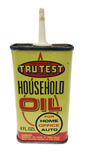 Tru Test Household Oil Can Oiler 4 oz True Value Hardware Store Yellow Vintage