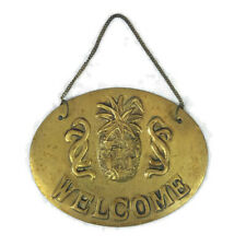 Welcome Pineapple Brass Hanging Sign Plaque Hospitality Entrance Door Decor