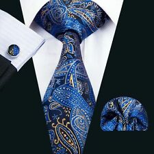 SN-1447 Newest Classic Blue Paisley Silk Tie Jacquard Woven Luxury Necktie Set