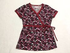 Koi XS Extra Small Kathryn Black Pink Red Heart Side Tie Scrub Top Shirt Uniform