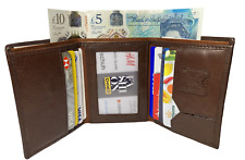 MENS QUALITY SOFT REAL LEATHER BROWN TRIFOLD WALLET 8 CREDIT CARD & ID HOLDER