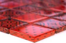 RED with black Design Translucent Mosaic tile GLASS WALL Splashback - 78B-0902_b