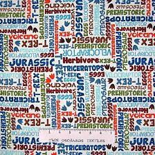 Nursery Baby Fabric - Dino-Riffic Dinosaur Word Patch Cream - Studio E YARD