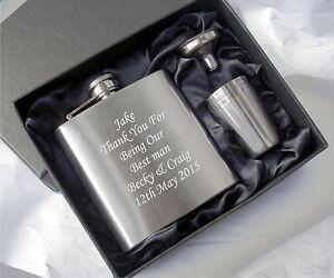 personalised engraved hip flask set, usher best man, groom gifts Birthday Gift