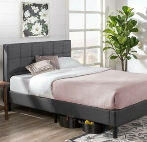 ZINUS Lottie Upholstered Platform Bed Frame / Easy Assembly, Grey, Queen