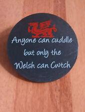 welsh slate coaster CWTCH + dragon  printed 'welsh cuddle hug'  llechen CYMRAEG