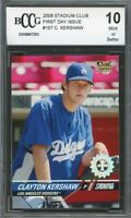 2008 Stadium Club First Day Issue #107 Clayton Kershaw Rookie BGS BCCG 10 Mint