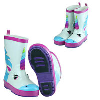 Girls Boys Unicorn Short Waterproof Rubber Rain Boots Garden White Size 5-12 Hot