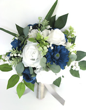 Wedding bouquet 1 piece Bridal set Silk Wedding flowers NAVY BLUE WHITE GREEN