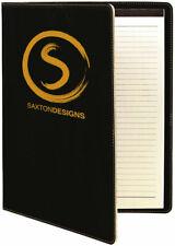 "Personalized Portfolio Black Leatherette Padfolio Journal Note Pad 9"" x 12"""