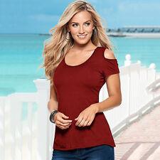 Damen Kurzarm Bluse Schulterfrei Beiläufig T-Shirts Tops Sommer Spitze Oberteil