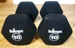 2 Bollinger 10 lb. Cast Iron Neoprene DUMBBELLS - non roll dumbbell Hand Weights