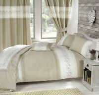 Wild Berry Natural Linen Luxury Embroidered Floral Duvet Cover Bedding Set