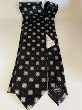 Authentic BRIONI Black Tie With Patterns 100% Silk Tie Necktie Long Italy