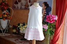 ROBE DIOR BABY 18 mois rose blanc plis en bas petit col dior PORT GRATUIT