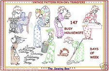 BUSY HOUSEWIFE COLONIAL IRON-ON embroidery transfer pattern DOW   # 147