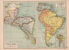 1929 MAP ~ CENTRAL AMERICA GUATEMALA HONDURAS NICARAGUA COSTA RICA ~ HISTORICAL