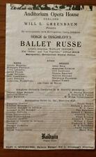 Waslav Nijinsky Ballet Russe 1916 Auditorium Opera House Oakland partial program