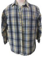 OshKosh Bgosh mens shirt Size Xl blue plaid heavy cotton shortened long sleeve