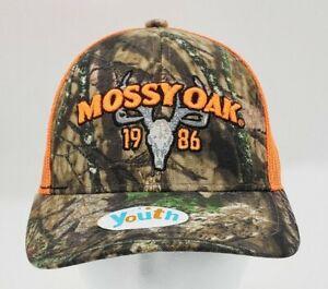 Mossy Oak Youth Trucker Hat Camo/Orange Adjustable