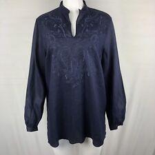Lauren Ralph Lauren Womens 100% Linen Tunic Blouse Size 1X Navy blue Long Sleeve