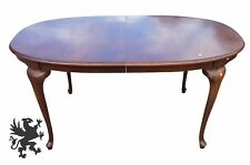 Vintage Bernhardt Queen Anne Mahogany Dining Table Oval with Leaves