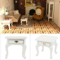 1/12 Doll House Wood Furniture Miniature Vintage White Bedside Table Nightstand