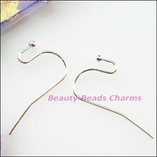 100Pcs Copper Ear Wire Hook With End Ball Stopper 22mm Gold Silver Bronze Plated