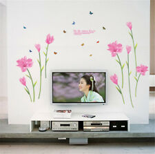 Pink Flowers Butterfly Room Home Decor Removable Wall Sticker Decal Decoration