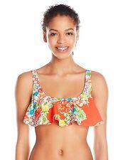 Bikini Lab Junior Women's Hot and Gold Hanky Crop Bikini Top Size Medium