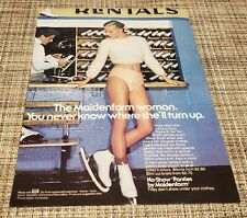 Vintage 1980 Ice Skating Rink Maidenform Print Ad Pretty Woman Panties Legs 80's