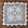 Hand Crochet Tablecloth Vintage Floral Lace Doily Square Table Cover White 16''