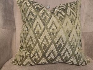 "45cm 18""  Art Deco Antique Green & Gold   Faux Suede Handmade Cushion Cover D"