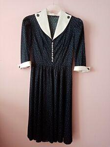 True Vintage Kleid marine look 40er 50er jahre original gr.38/40
