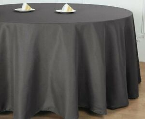 """9 Tablecloths Linen 136"""" Round Poly Tablecloth Charcoal 044 3-New 6-used Wedding"""