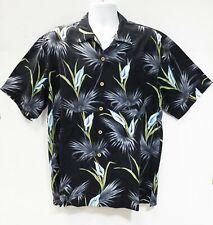 Tommy Bahama Large Black Calla Lily Silk Hawaiian Loop Collar ShirtMens