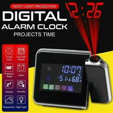 LCD Smart Alarm Clock Digital LED Projection Time Temperature Projector Display