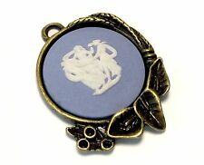 Wedgwood Jewelry Cameo in Antique Bronze Pendant With Calla Lily Accents