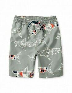 TEA COLLECTION Shark Pull-on Swim Trunks - Gray - NWT Boys 16
