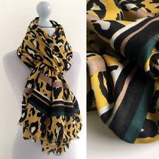 Large Leopard Print Scarf Mustard Yellow Green Striped Animal Big Long Cotton