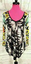Custo Line Top Size 1 Multicolor Floral V-Neck Sheer Long Sleeve Stretch