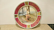 19C Hand Paint Royal Vienna Plate Jewels Beautiful Girl Heavy Rich Gold Gilding
