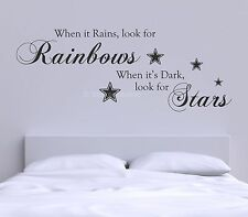 When It Rains Look For Rainbows Inspirational Quote Wall Art Mural Decal Sticker