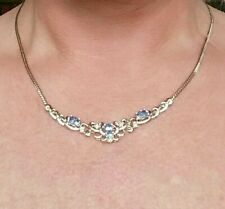 QUALITY 9CT YELLOW GOLD  1.20 CARAT AQUAMARINE & DIAMOND NECKLACE CHOKER COLLAR