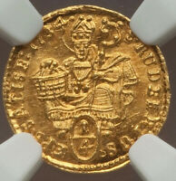 1734 Austrian States Salzburg Leopold Anton Eleutherius gold 1/4 Ducat NGC MS66