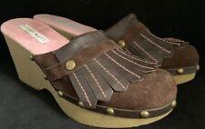 Tommy Girl Hilfiger Size 6 M Brown Pink Leather Fringe Clogs Mules Slip On Vtg