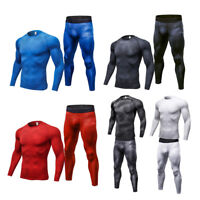 Mens Compression Sets Running Jogging Sport suit Basketball Gym Jersey Quick-dry
