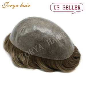 Toupee For Men Poly Skin Male Hair System Human Hair Full Poly Hair Replacement